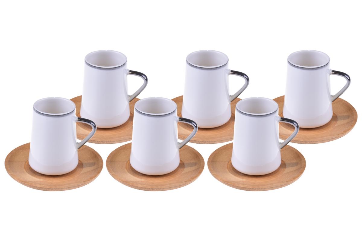 Cappu 6 Kişilik Çay Takımı - Gümüş Yaldızlı Bambum
