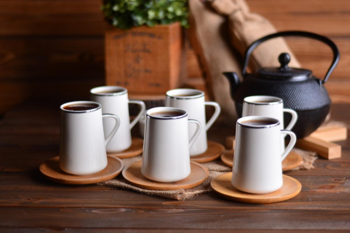 Cappu 6 Kişilik Kahve Fincan Takımı - Gümüş Yaldızlı Bambum