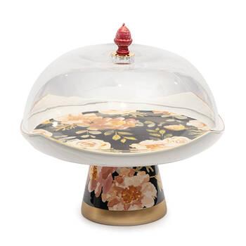 Biev - Çiçekli Ayaklı Kek Fanusu
