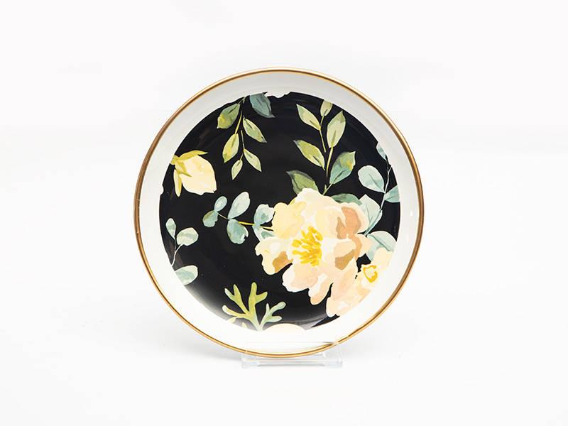 Çiçekli Yuvarlak Pasta Tabağı