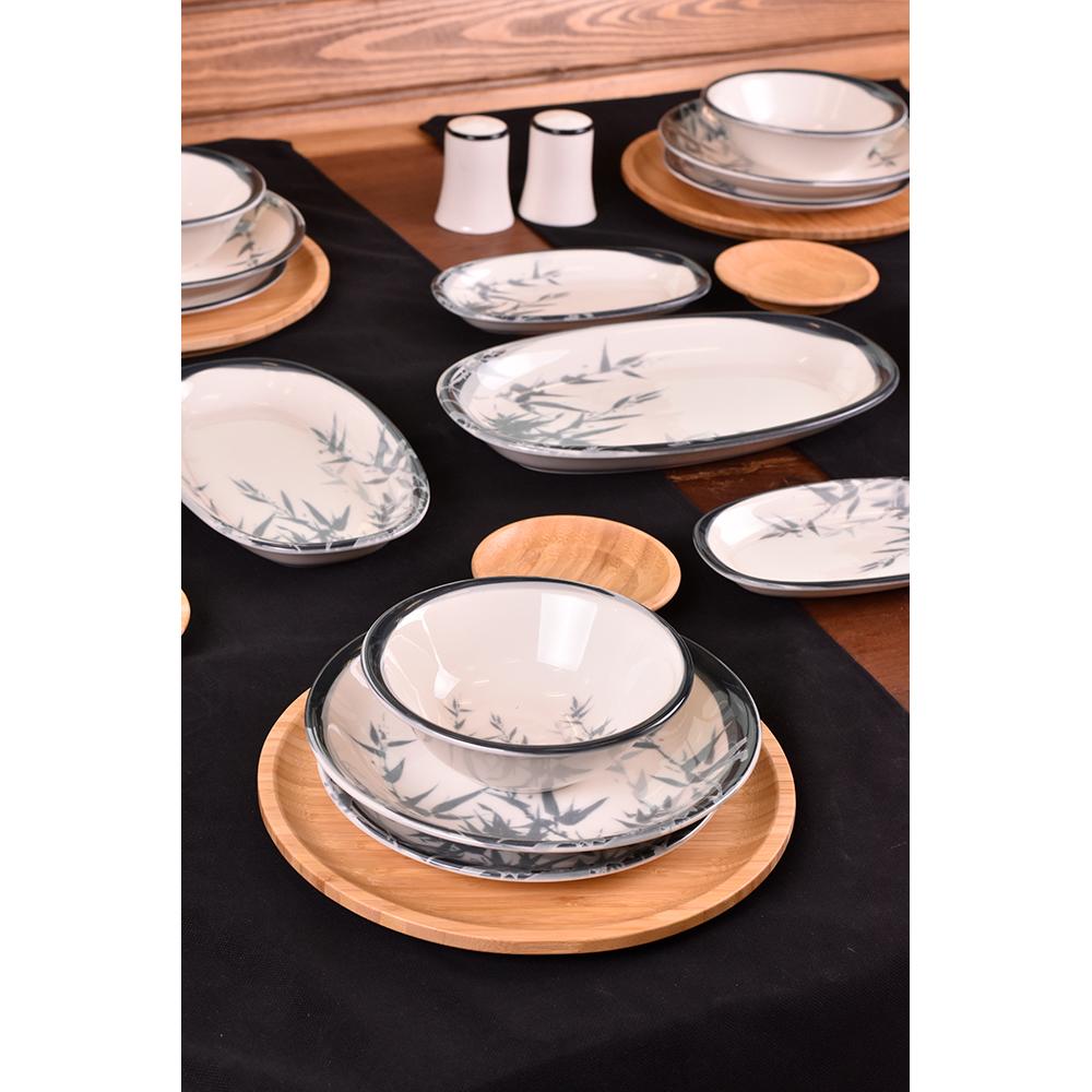 Dalia - 44 Parça Bambu & Porselen Yemek ve Kahvaltı Takımı