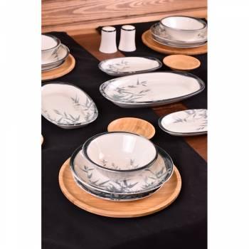 Dalia - 44 Parça Bambu & Porselen Yemek ve Kahvaltı Takımı - Thumbnail