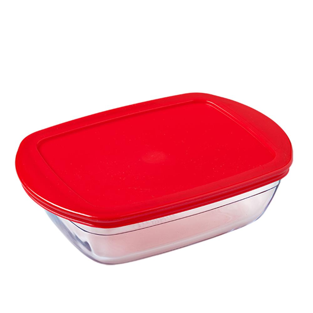 Dikdörtgen Kırmızı Kapaklı Saklama Kabı - 0,40 lt