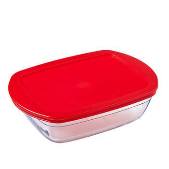 Dikdörtgen Kırmızı Kapaklı Saklama Kabı - 0,40 lt - Thumbnail