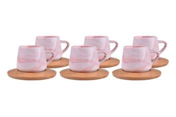 Ebru 6 Kişilik Kahve Fincan Takımı - Kırmızı Bambum - Thumbnail