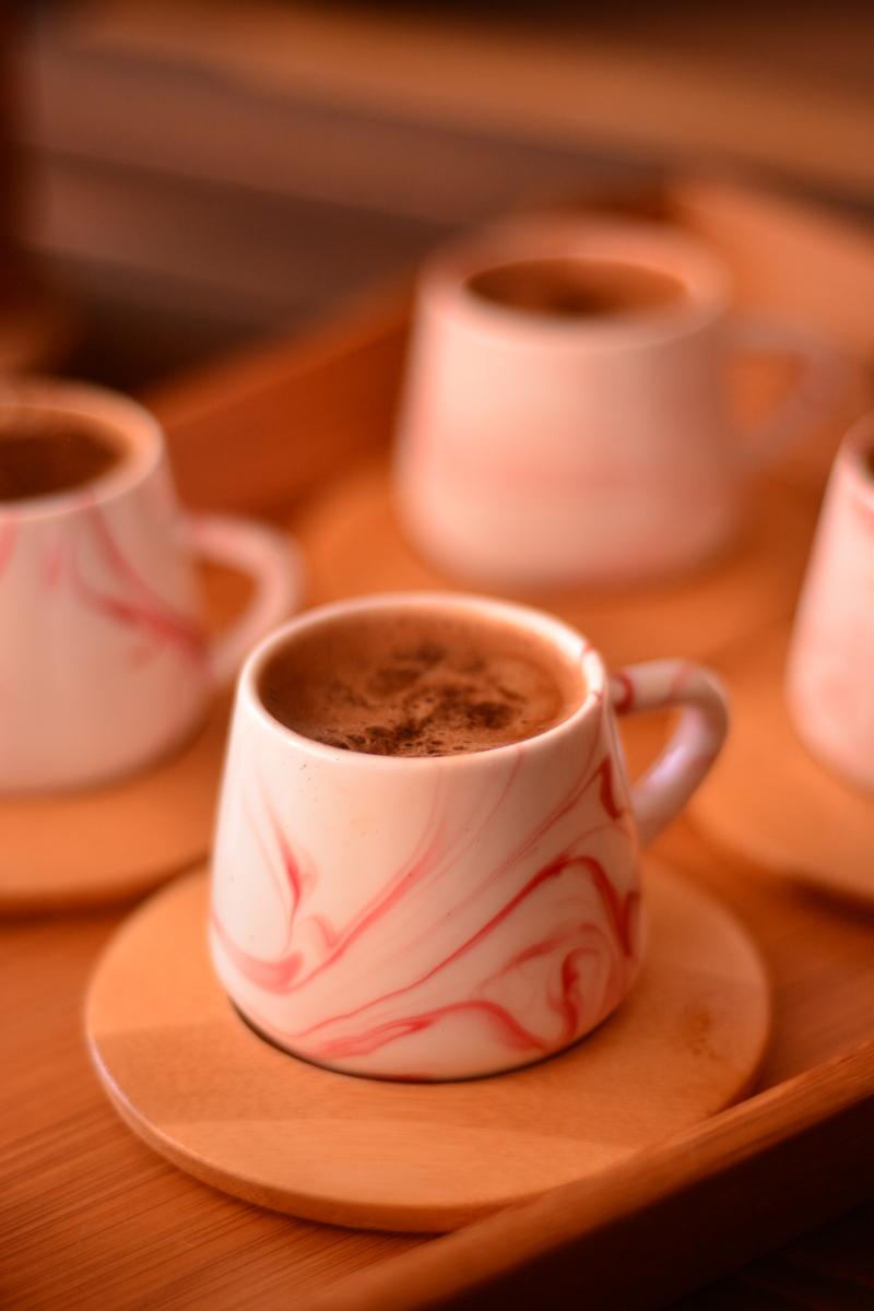 Ebru 6 Kişilik Kahve Fincan Takımı - Kırmızı Bambum