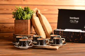 Ebru Prestij 6 Kişilik Kahve Fincan Takımı - Siyah Bambum - Thumbnail