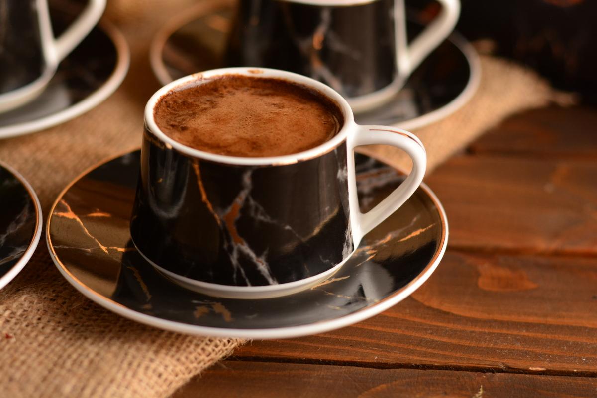 Ebru Prestij 6 Kişilik Kahve Fincan Takımı - Siyah Bambum
