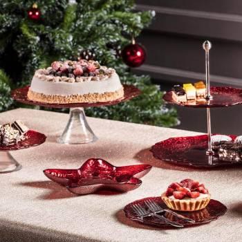- Eva 21 cm Kırmızı Simli Kek Standı (1)