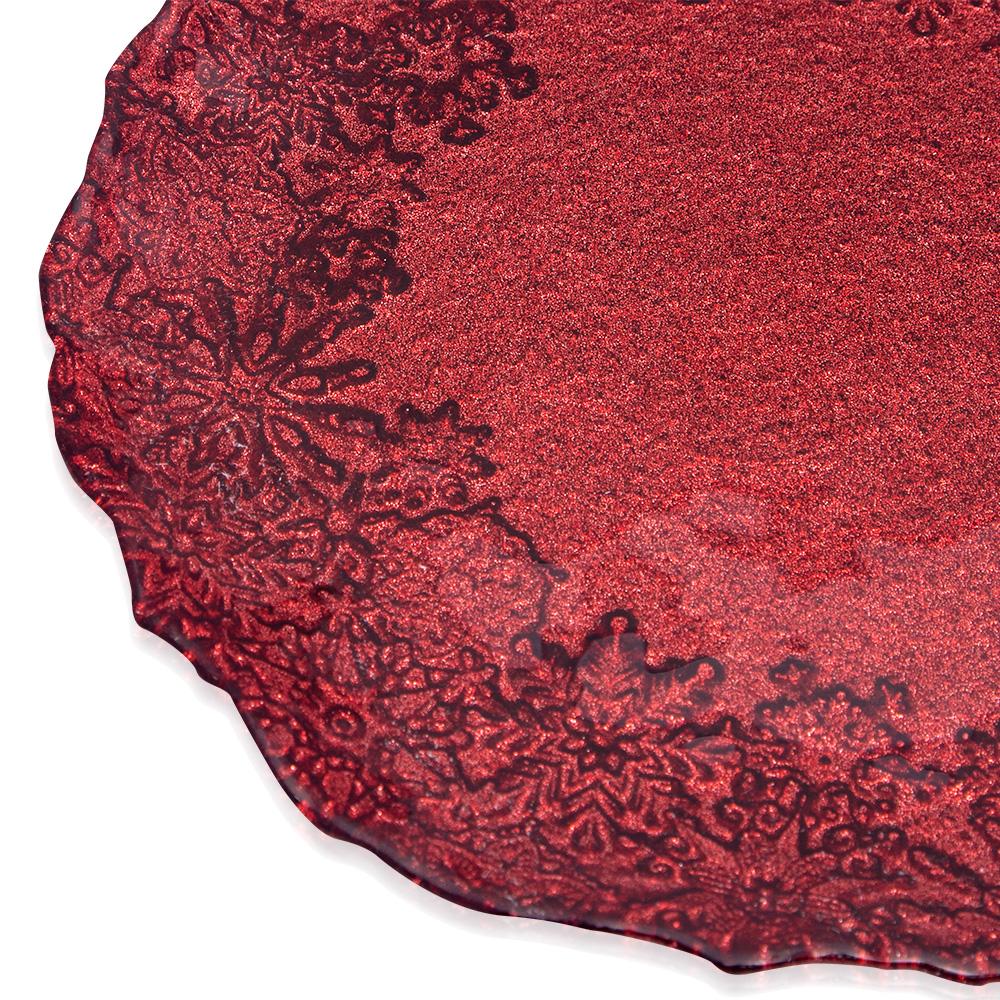 Eva Kırmızı Simli Cam Servis Tabağı - 21 cm