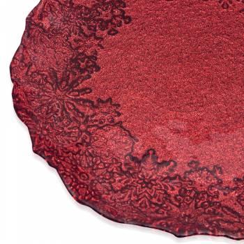 Eva Kırmızı Simli Cam Servis Tabağı - 21 cm - Thumbnail