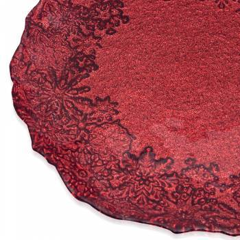 Eva 21 cm Kırmızı Simli Tabak - Thumbnail
