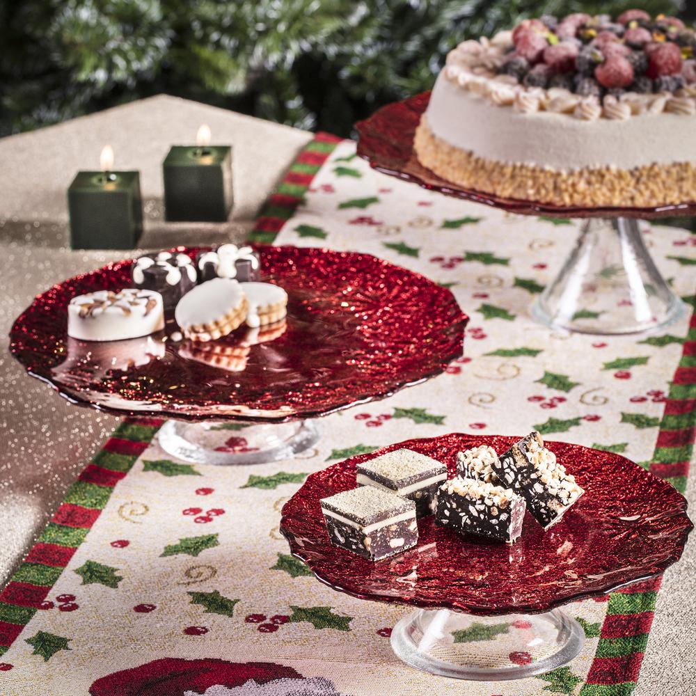 Eva 28 cm Kırmızı Simli Kek Standı