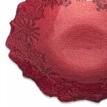 Eva 30 cm Kırmızı Simli Kase - Thumbnail