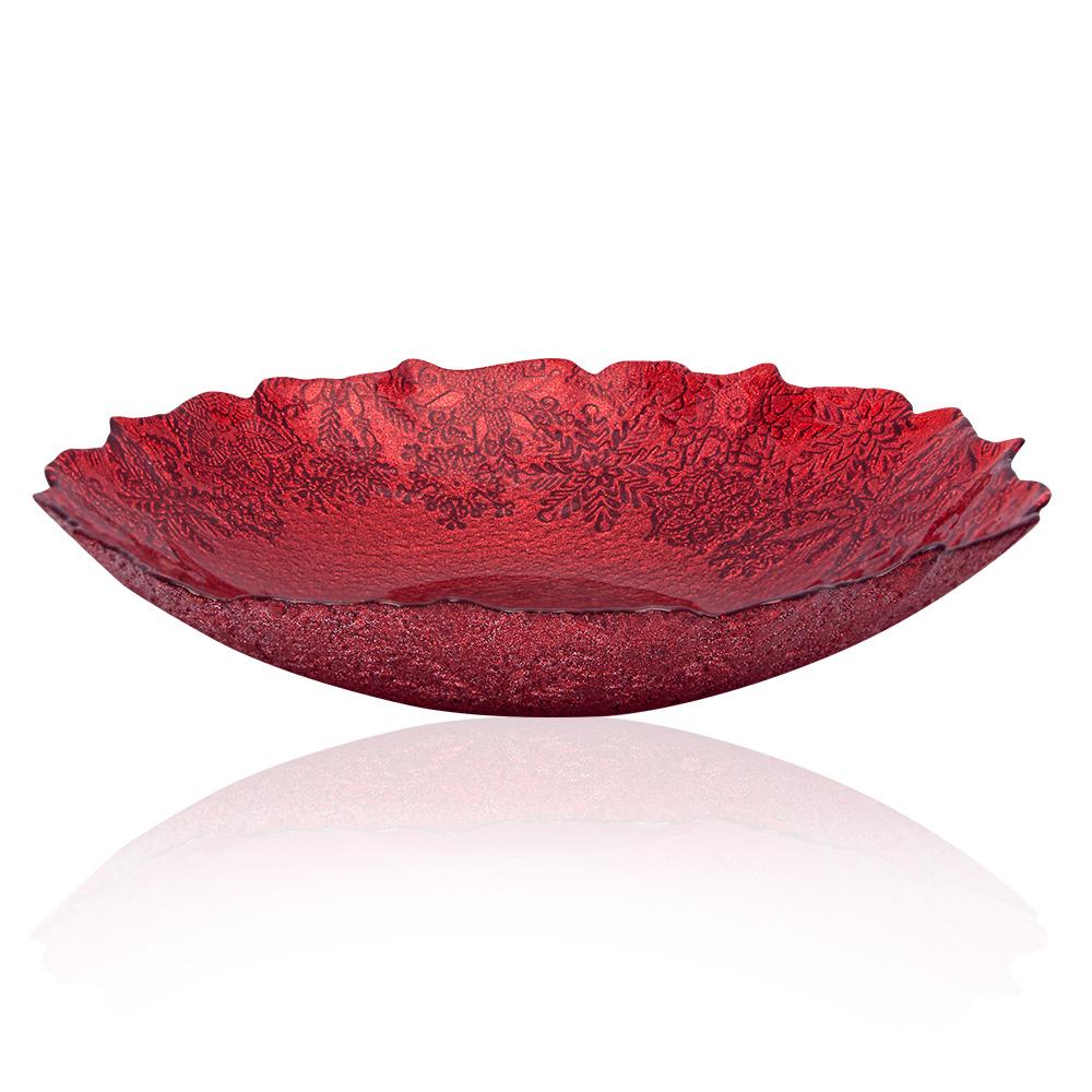 Eva Kırmızı Simli Cam Salata Kasesi - 30 cm
