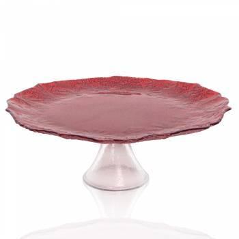Eva Kırmızı Simli Cam Kek Standı - 32 cm - Thumbnail
