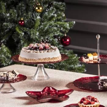 - Eva 32 cm Kırmızı Simli Kek Standı (1)