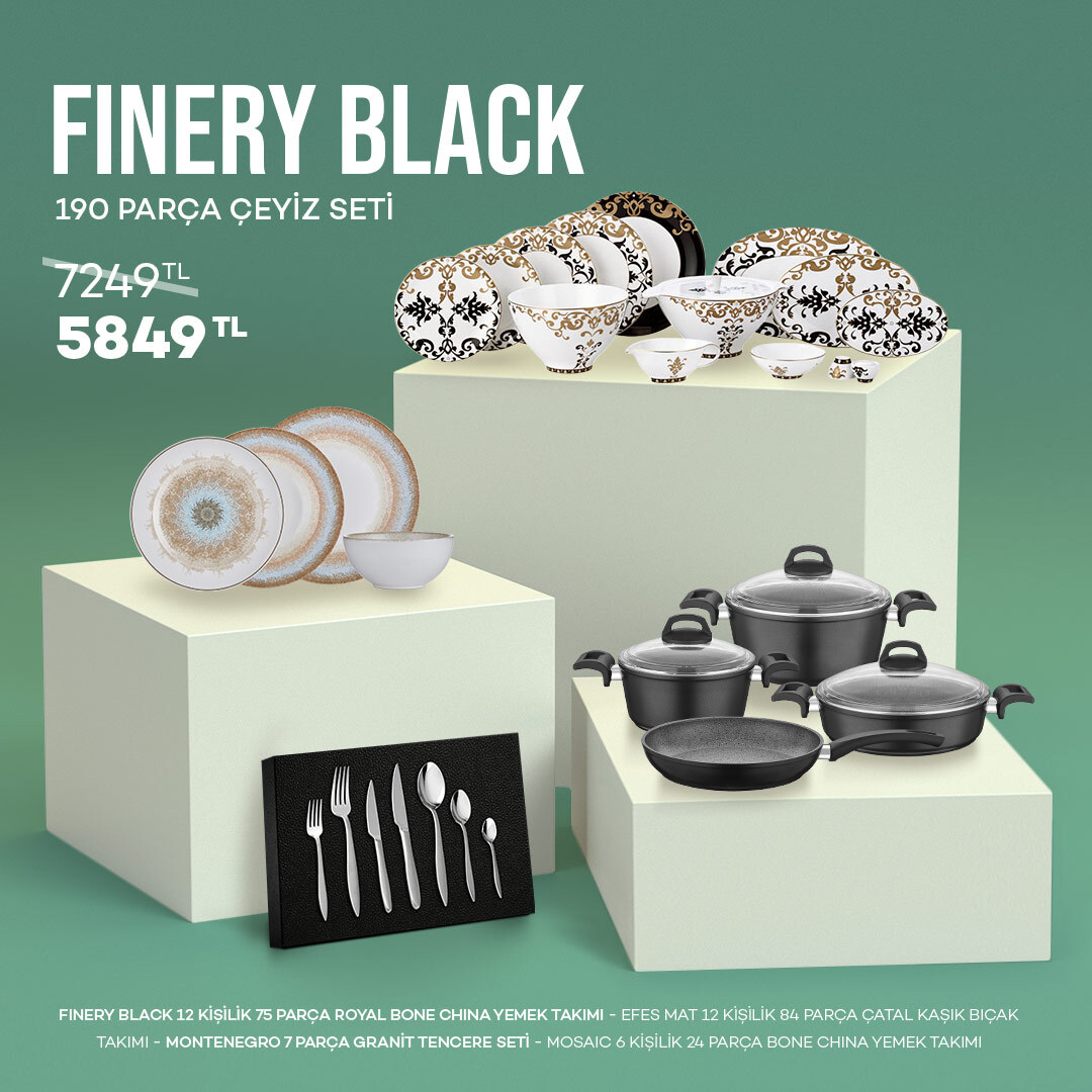 Finery Black 190 Parça Çeyiz Seti