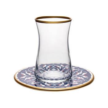 Biev - Firuze 6 Kişilik 12 Parça Cam & Porselen Çay Takımı