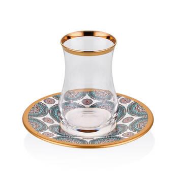 Biev - Geometric Blue 6 Kişilik 12 Parça Çay Bardağı Takımı