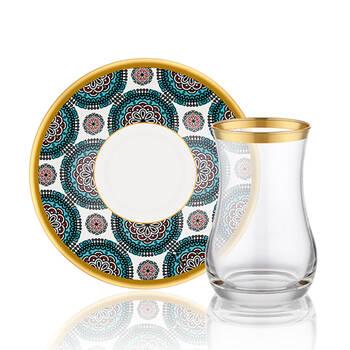 Biev - Geometric Blue 6 Kişilik 12 Parça Çay Bardağı Takımı (1)