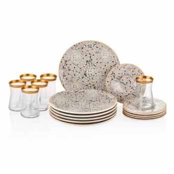 - Geometrik Desenli 6 lı Çay Seti - Gri-Altın