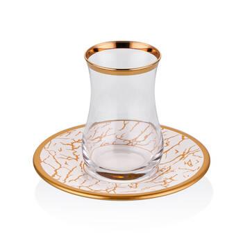 Biev - Gold Crack Up 6 Kişilik 12 Parça Çay Bardağı Takımı