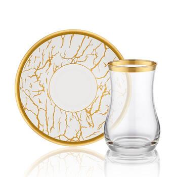 Biev - Gold Crack Up 6 Kişilik 12 Parça Çay Bardağı Takımı (1)
