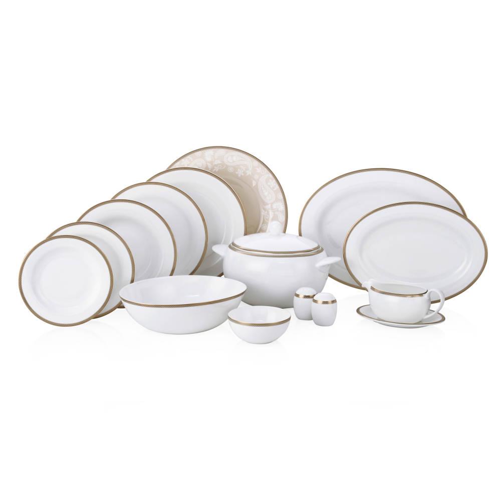 Golden Paisley 12 Kişilik 100 Parça Royal Bone China Yemek Takımı