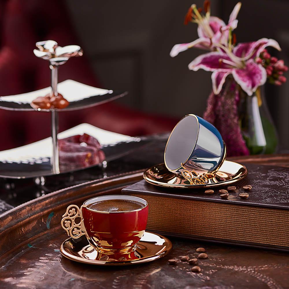 Gümüş Orkide 2 Kişilik Kahve Fincanı Seti