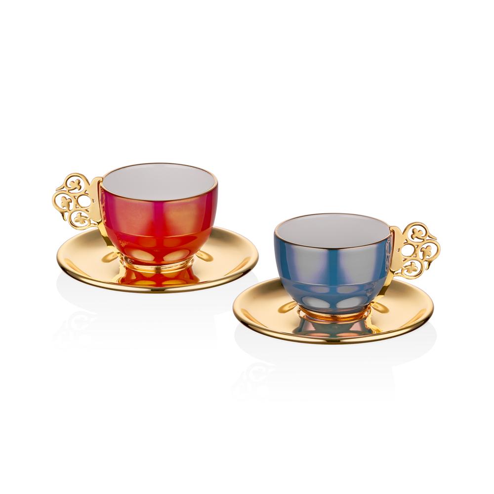 Gümüş Orkide 2'Li Kahve fincan Seti