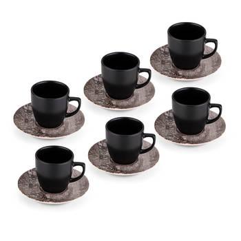 Bernardo - Hanes 6 Kişilik 12 Parça Stoneware Kahve Fincanı Takımı