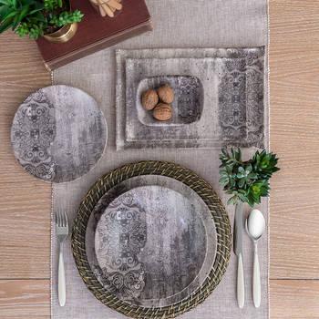 Bernardo - Hanes Eskitme Desenli Stoneware Servis Tabağı - 25 cm (1)