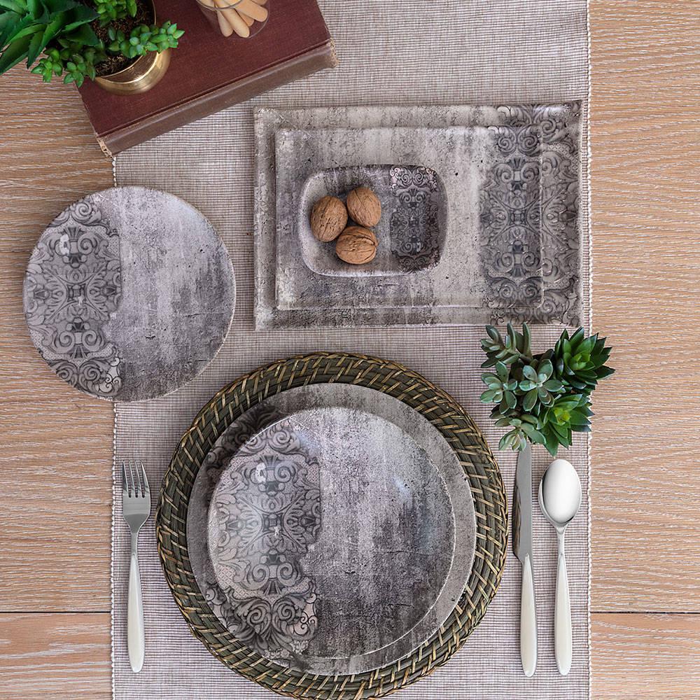 Hanes Eskitme Desenli Stoneware Çukur Tabak - 22 cm