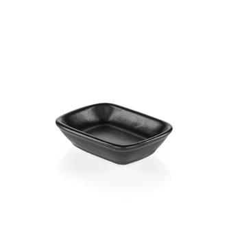 Bernardo - Hanes Siyah Stoneware Kayık Tabak - 13 cm