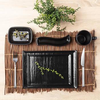 Bernardo - Hanes Siyah Stoneware Kayık Tabak - 13 cm (1)