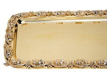Biev - Jaipur Büyük Boy Gold Servis Tepsisi - 47x24 cm (1)