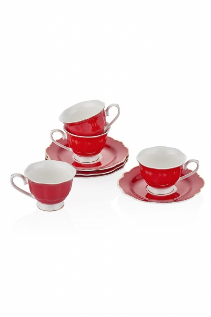Kahve Fincan Seti 4'Lü - Kırmızı
