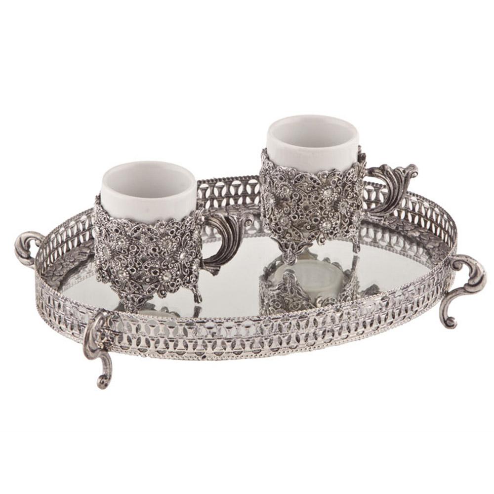 Kare 2 Kişilik 4 Parça Kahve Fincanı Seti - Gümüş Rengi