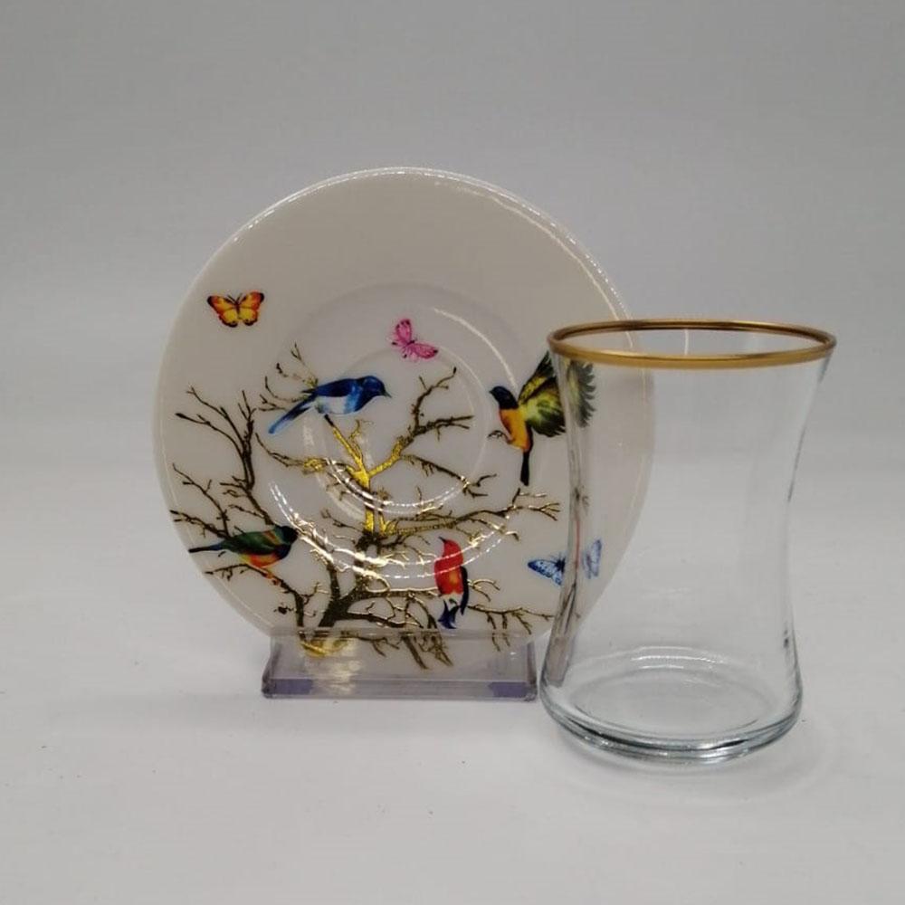 Kelebek Desenli 6 Kişilik 12 Parça Çay Bardak Takımı