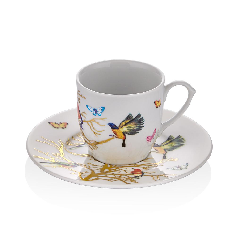 Kelebek Desenli 6 Kişilik 12 Parça Kahve Fincan Takımı
