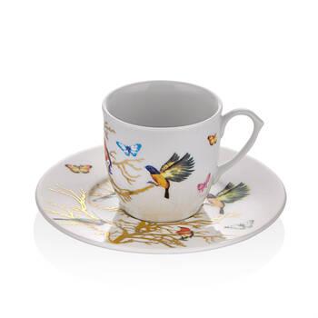 Kelebek Desenli 6 Kişilik 12 Parça Kahve Fincan Takımı - Thumbnail