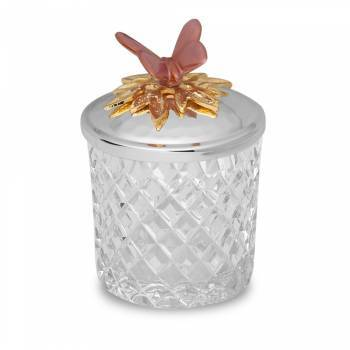 Bernardo - Kelebek Kapaklı Cam Şekerlik - 10 cm