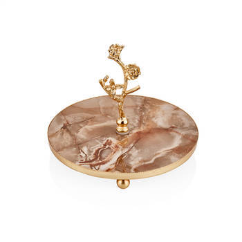 Bernardo - Kelebekli 20 cm İkram Tabağı - Krem Altın