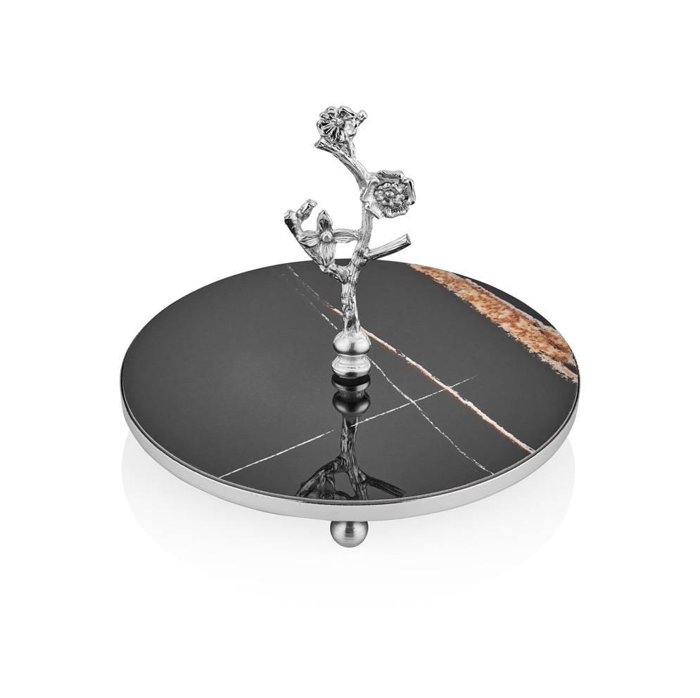 Kelebekli 20 cm İkram Tabağı - Siyah Gümüş