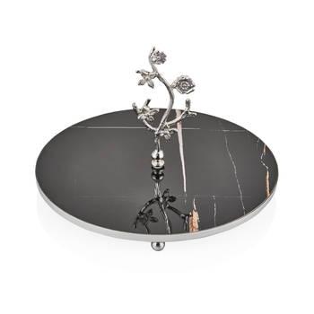 Bernardo - Kelebekli 30 cm İkram Tabağı - Siyah Gümüş