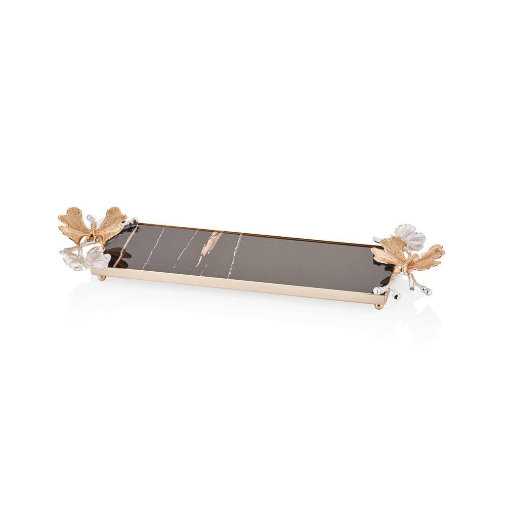 Kelebekli Dikdörtgen Mermer Sunum Standı - 10x32 cm