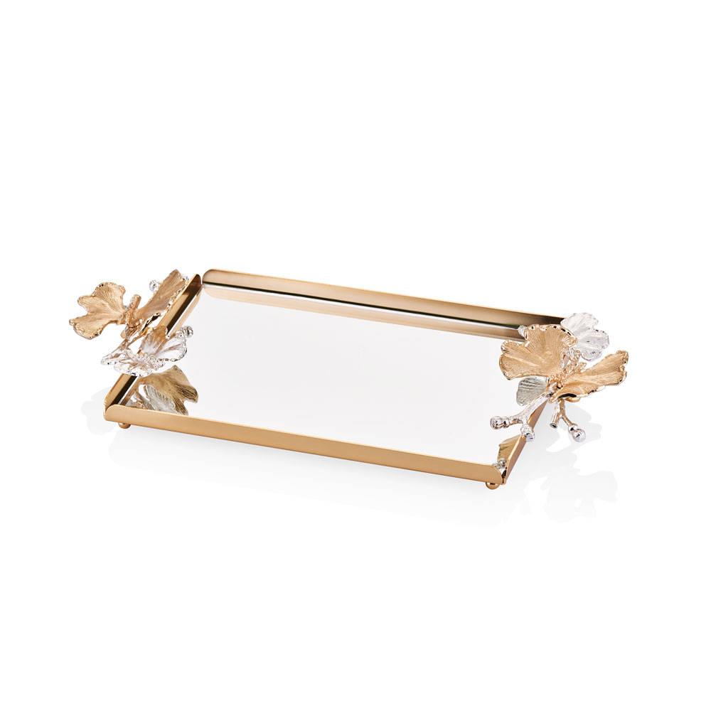Kelebekli Gold Aynalı Servis Tepsisi - 16x18 cm
