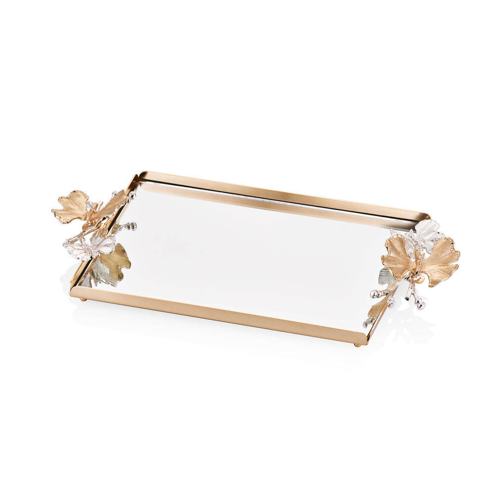 Kelebekli Gold Aynalı Servis Tepsisi - 32x22 cm