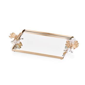 Bernardo - Kelebekli Gold Aynalı Servis Tepsisi - 32x22 cm